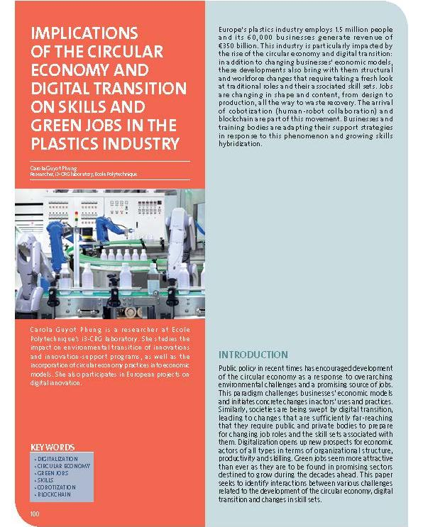 Implications of the circular economy and digital transition on skills and green jobs in the plastics industry