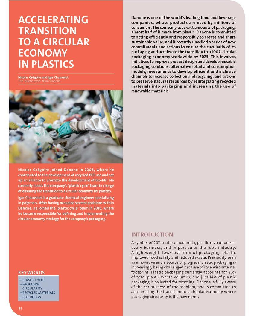 Accelerating transition to a circular economy in plastics
