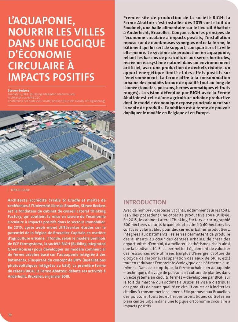 L'aquaponie, nourrir les villes dans une logique d'économie circulaire à impacts positifs
