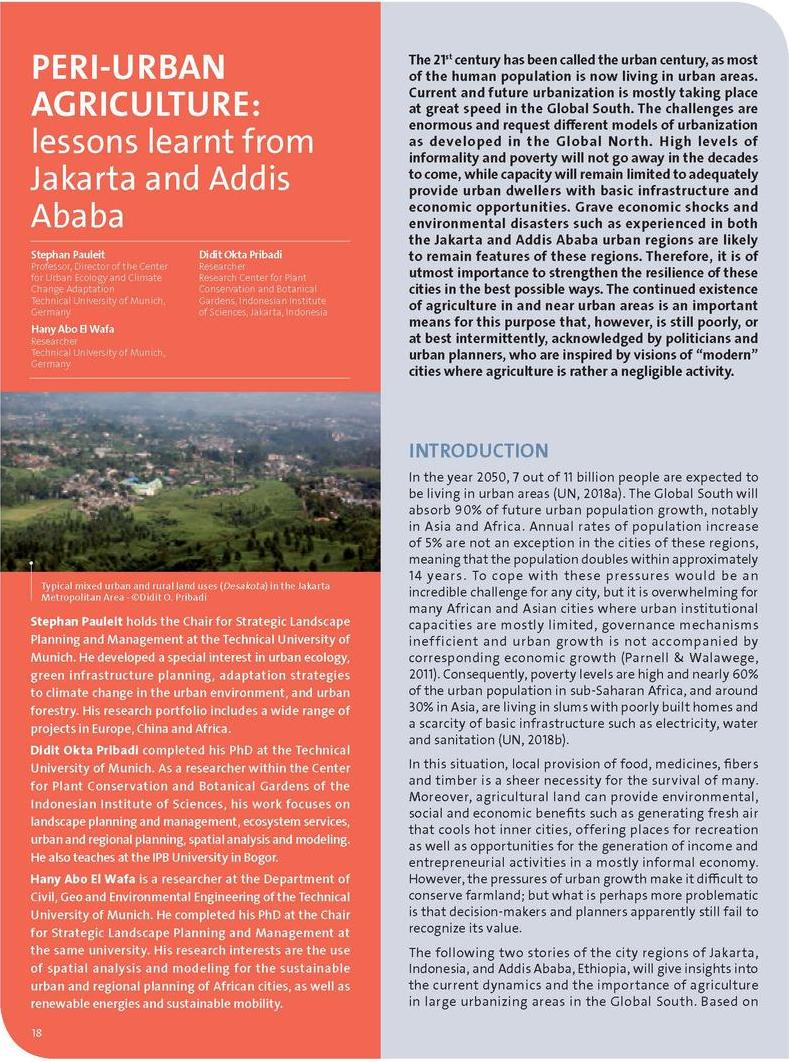 Peri-urban agriculture: lessons learnt from Jakarta and Addis Ababa
