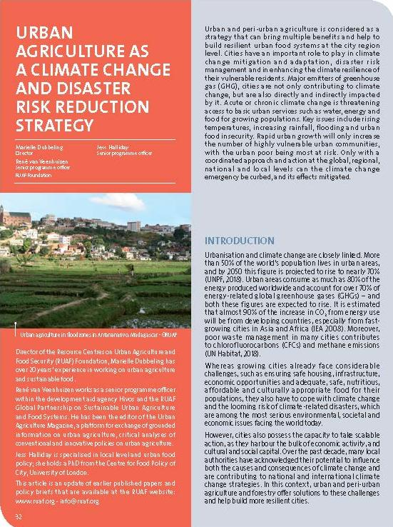 Urban agriculture as a climate change and disaster risk reduction strategy