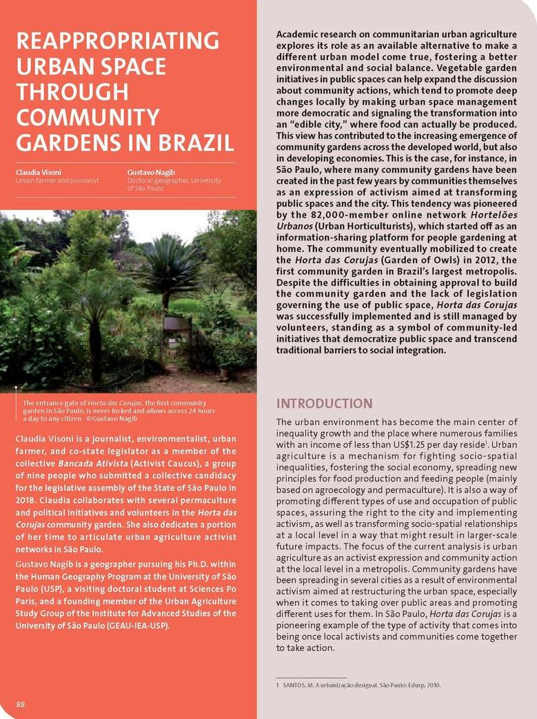 Reappropriating urban space through community gardens in Brazil
