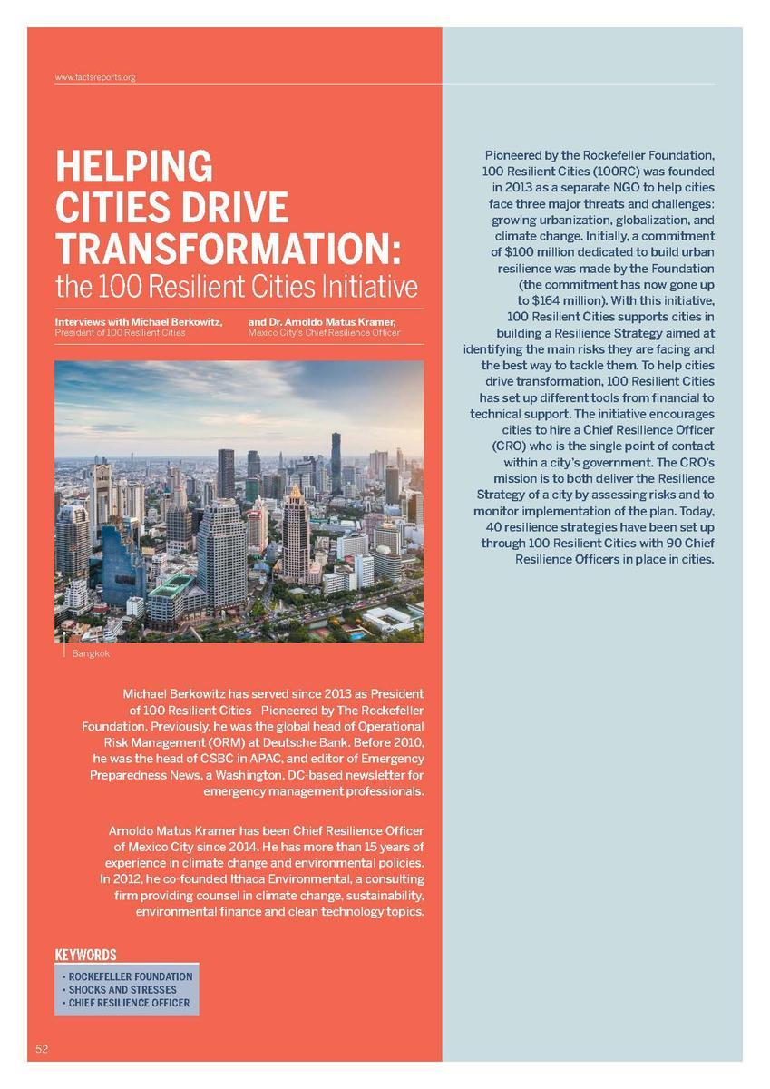 Helping cities drive transformation - the 100 Resilient Cities Initiative